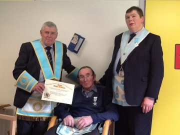 WBro S McMullan presents Certificate to Bro.Smith with WBro. J Elliott